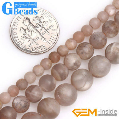 "Natural Round Brown Frosted Matte Sunstone Beads for Jewelry Making DIY 15"" GB"