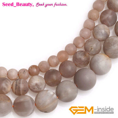 "Natural Round Frosted Matte Sunstone Loose Beads for Jewelry Making DIY 15"" SD"
