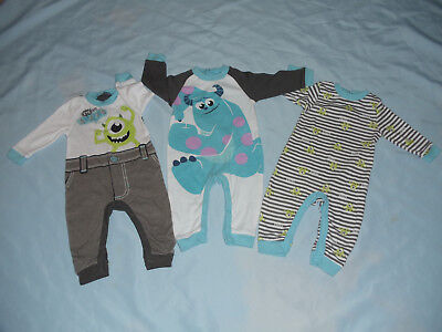 """Lot Of Three Disney Baby """"monsters Inc"""". Baby Boys Size 6/9M Footless Sleepers"""