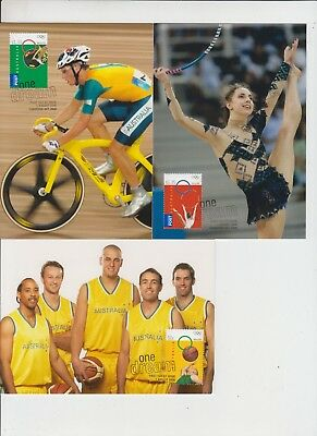 Stamps Australia 2008 Beijing China Olympic Games set of 3 on set maximum cards