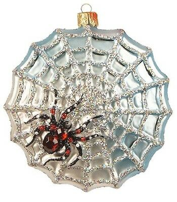 Spider Trap Web Polish Glass Halloween Tree Ornament Decoration Made in Poland