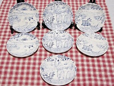 "LOT of 7 (Villeroy &) BOCH Belgium Delft Coasters Dutch children 4 1/4"" Mint."