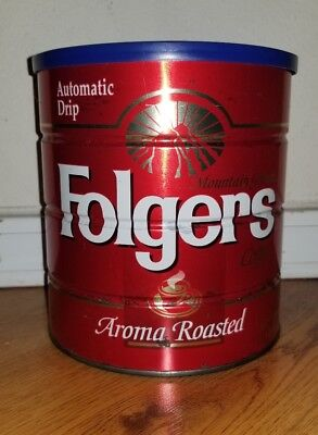 Folgers Aroma Roasted 39 oz Coffee Can Blue Lid Big Lebowski Receptacle Donny