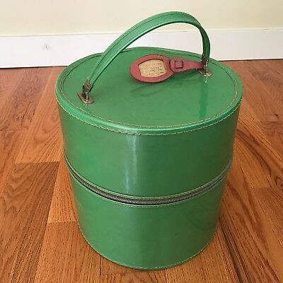 Vintage MCM Green Tall Vinyl Wig Carrying Case/ Hat Box Pink Roses Inside