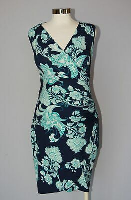 Lilac Maternity Nursing Brynley Faux Wrap Dress, Navy Paisley Extra Small XS 0 2