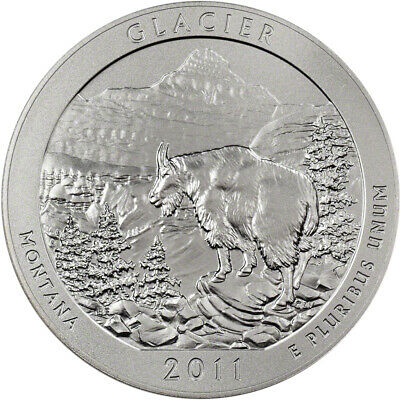 2011-P US America the Beautiful Five Ounce Silver Uncirculated Coin - Glacier