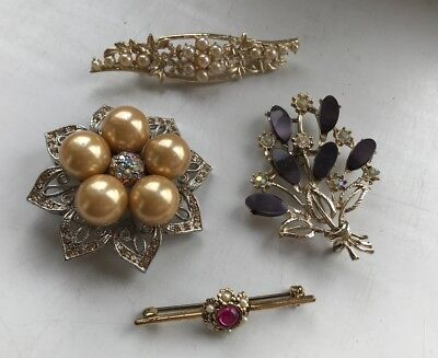 Mixed Job Lot Of 4 Good Quality Brooches. Goldtone Metal Collection. L@@k !