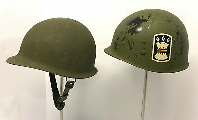 Original Post War M1 Helmet with 313th Inf.157th Inf.Bde.Unit Marked Liner