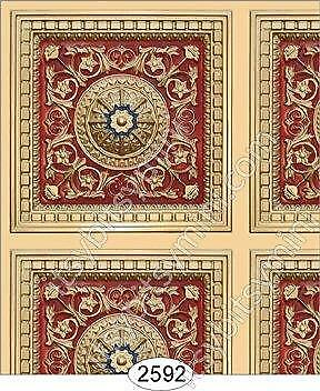 Dollhouse Wallpaper 1:12 Scale - Rosette Panel Paper Gold Red Blue - 2592