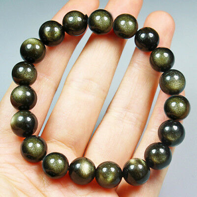 117.9CT 100% Natural Mexican Golden Obsidian Round Beads Bracelet Chain BGOT217