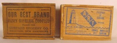 Vintage  Advertesing Cod Fish Boxes~Wooden/Dovetailed One Franklin,New Hampshire