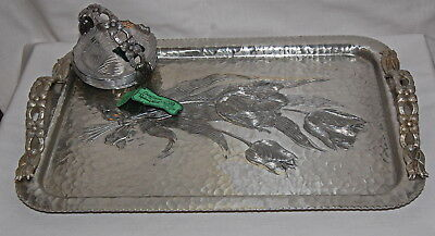 Rodney Kent Tulip Pattern Aluminum Hand Wrought Tray 8 Coasters & Caddy