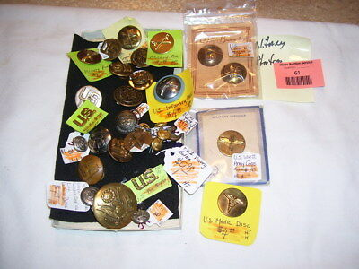 Lot #61 WWII US Army Corps Military Pins Buttons