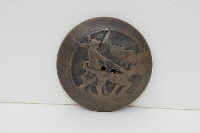 Beautiful Antique Hand Carved Wooden Button Depicting A Man Walking His Big Dog