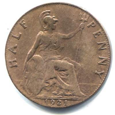 Great Britain 1921 Half Penny Coin - United Kingdom England King George V