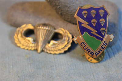 2 Wwii Us Airborne Sterling Silver Jump Wings Currahee Pin Infantry