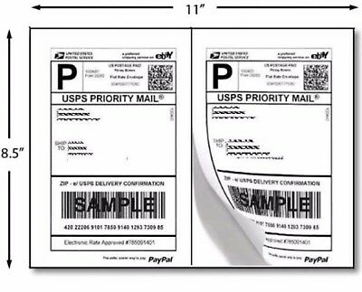 2000 Shipping Labels 8.5x5.5 Rounded Corner Self Adhesive 2 Per Sheet