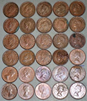 Canada Small Cent Lot of 30 Coins - Date Range 1937-1967 with Newfoundland