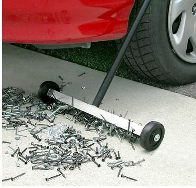Magnetic Sweeper With Wheels Rolling Nail Floor Roofing Magnet Yard Push
