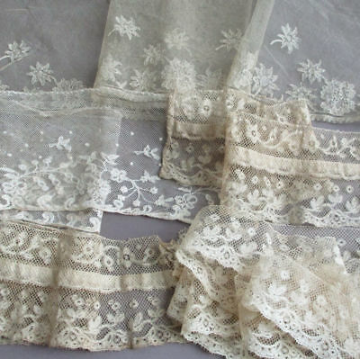 "4 Antique French LACE Trims ALENCON Honiton BRUSSELS Valenciennes 1.5-5"" W DOLLS"