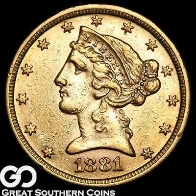 1881 Half Eagle, $5 Gold Liberty, Lustrous Coin ** Free Shipping!