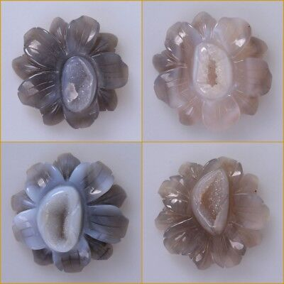 55mm Gray drusy druzy agate carved flower pocket stone statue 2.2""