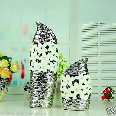 European White+Silver Hollow Out Ceramic Home Accessories Decoration Vases 2 Pcs
