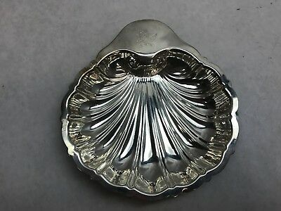 Vintage SILVERPLATE Shell Clam Nuts Caviar RELISH DISH with WINGED DRAGON Mark