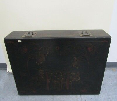 "Vintage Asian Motif Wooden Trunk Large 36"" X 9"" X 27"" Local Pick Up Only"