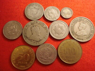 10 South/Central America Coins (2 Silver)