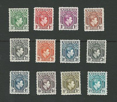 NIGERIA 1938. GEORGE VI, 12 DIFFERENT DEFINITIVE STAMPS TO 1/3d. MH