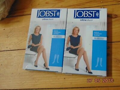 4 Jobst Ultrs Sheer Medical Compression Stockings 15-20 Mmhg Nude Black Stay Up