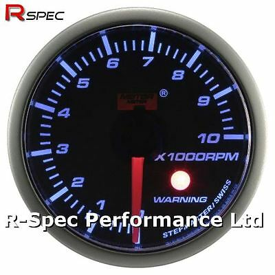 52mm Blue Stepper Motor Warning Rev Counter RPM Tacho Gauge With Warning Light