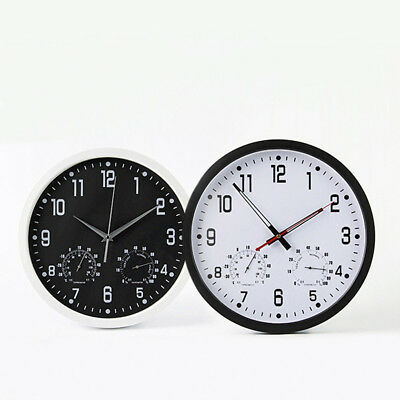 Large Wall Clock Vintage Temperature Humidity Round Modern Retro Quartz Clocks