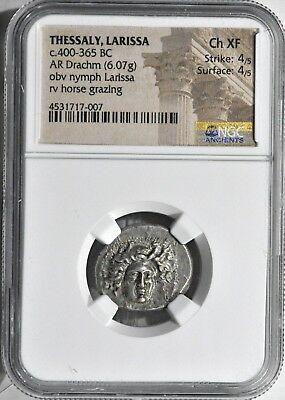 THESSALY Larissa Ca 400-370 BC AR Drachm 20mm, 6.07 g, NGC Choice XF 4/5 4/5