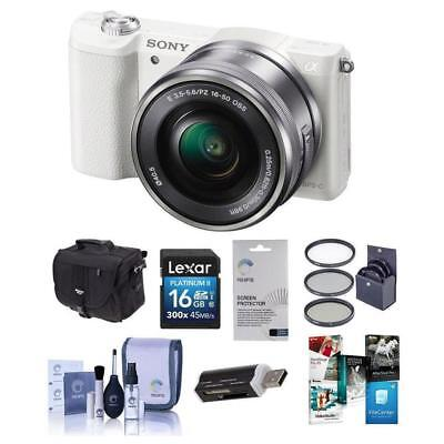 Sony Alpha A5100 Mirrorless Camera w/16-50mm Lens, White  Free Accessories