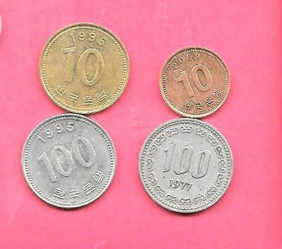 South Korea Koean 1977-2009 4 Diff Different Coin Lot Collection Set Group W Old