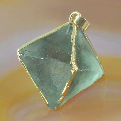 Octahedron Pyramid Point Multi-Color Fluorite Pendant Silver Plated Edge H116948