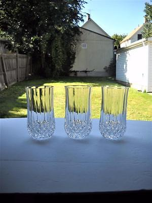Three Cristal d'Arques Longchamp 10 Oz. Flat Tumblers - All In Super Nice Cond.