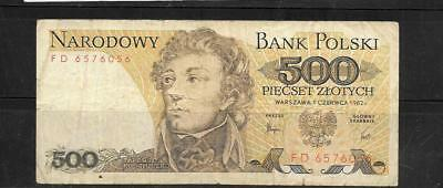 POLAND #145d 1982 VG CIRC OLD 500 ZLOTYCH CURRENCY BANKNOTE NOTE PAPER MONEY