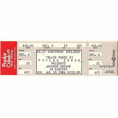 JACKSON BROWNE & PETER CASE Full Concert Ticket Stub CHICAGO 7/14/86 THE NERVES