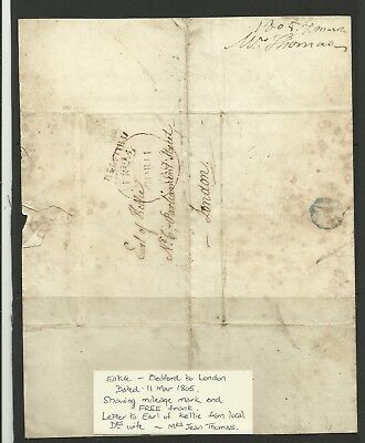 Entire, Bedford to London dated 11 March 1805 Showing Mileage & Free Frank.