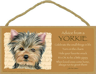 ADVICE FROM A YORKIE wood SIGN Yorkshire Terrier WALL hanging PLAQUE puppy dog