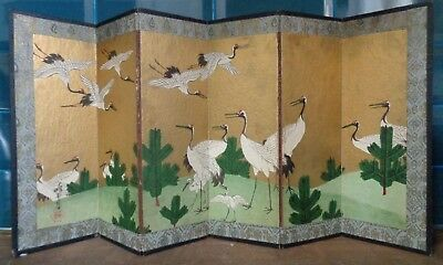 Beautiful Antique Japanese Hand Painted Signed Table Screen Heron Birds Japan