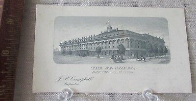 ca 1885 THE ST. JAMES HOTEL JACKSONVILLE FLORIDA PROPRIETOR AD TRADE CARD