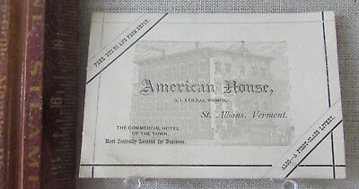 ca1885 AMERICAN HOUSE HOTEL ST. ALBANS VERMONT PROPRIETOR ADVERTISING TRADE CARD