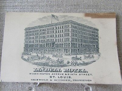 ca 1880 LINDELL HOTEL ST. LOUIS PROPRIETOR ADVERTISING TRADE CARD RAZED 1906