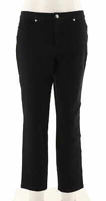 Isaac Mizrahi 24/7 Denim Fly Front Ankle Jeans Black 22W NEW A286107