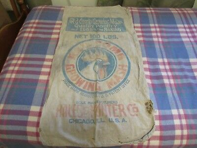 """HALES & HUNTER. """"RED COMB GROWING MASH"""" POULTRY & EGGS. 100lb FEED BAG.19"""" x 36"""""""