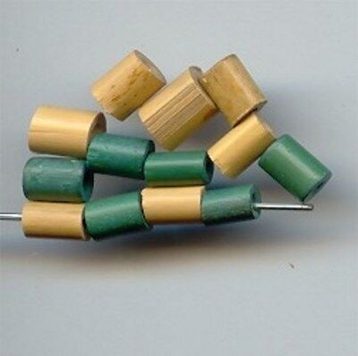 50 VINTAGE GENUINE BAMBOO NATURAL & GREEN 7x5mm. TUBE BEADS 2997